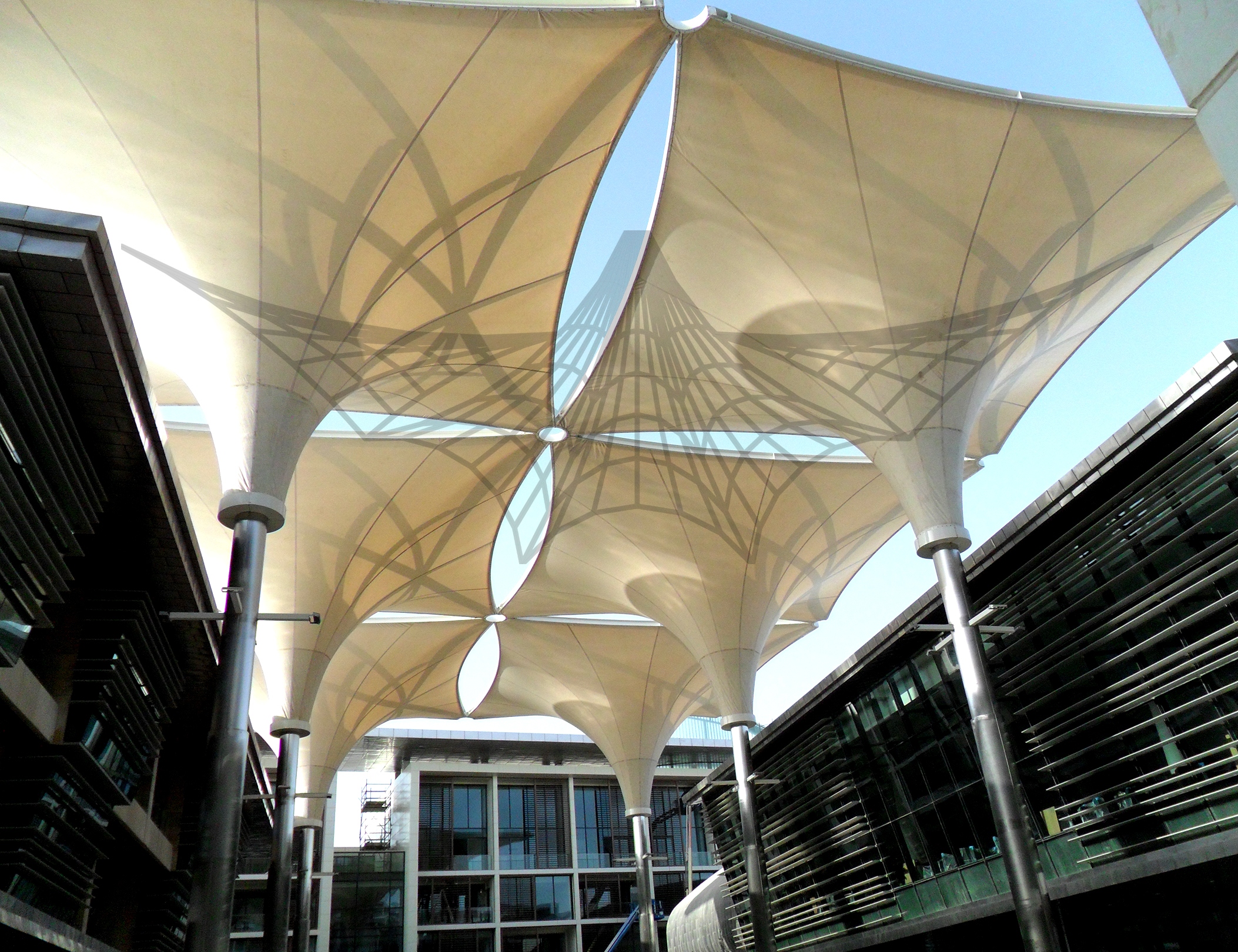 An example of the tensile installation you could have as your temporary exhibition structures